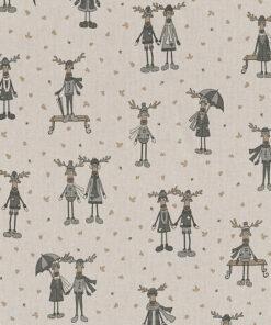 linnenlook kerststof 010 stof met rendieren decoratiestof gordijnstof 1.104530.1950.575