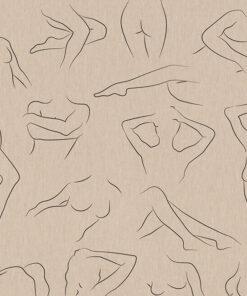 linnenlook printstof 301 stof met pentekening van vrouwen decoratiestof 1.104530.1960.630