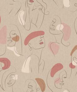 linnenlook printstof 300 stof met gezichten decoratiestof 1.104530.1964.145