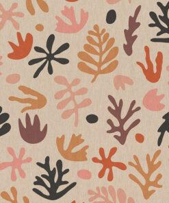 linnenlook printstof 298 stof met koraal decoratiestof 1.104530.1966.180