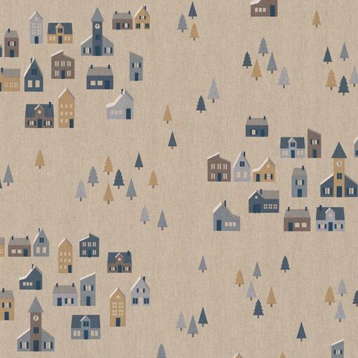 linnenlook printstof 290 stof met huisjes decoratiestof 1.104530.1976.460