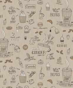 linnenlook printstof 189 stof met koffie decoratiestof 1.104530.1977.630