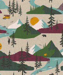 linnenlook printstof 287 stof met bergen decoratiestof 1.104530.1979.545