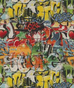Gobelin Artistic Graffiti stof met graffiti meubelstof gordijnstof decoratiestof