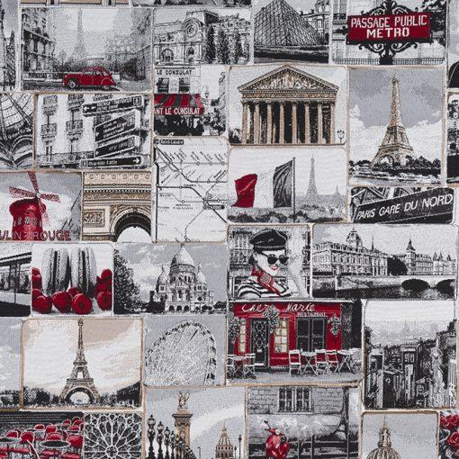 jacquardstof Paris Rouge meubelstof gordijnstof decoratiestof stof met Parijs 48772-01, 1-202530-1089-650