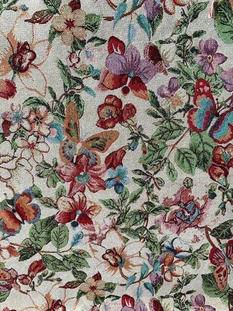 gobelin bloemen vlinders decoratiestof gordijnstof meubelstof