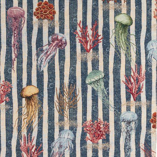 gobelin dieren 002 gobelin stof jellyfish stof met kwallen gordijnstof decoratiestof meubelstof 87471-01, 1-251030-1557-475