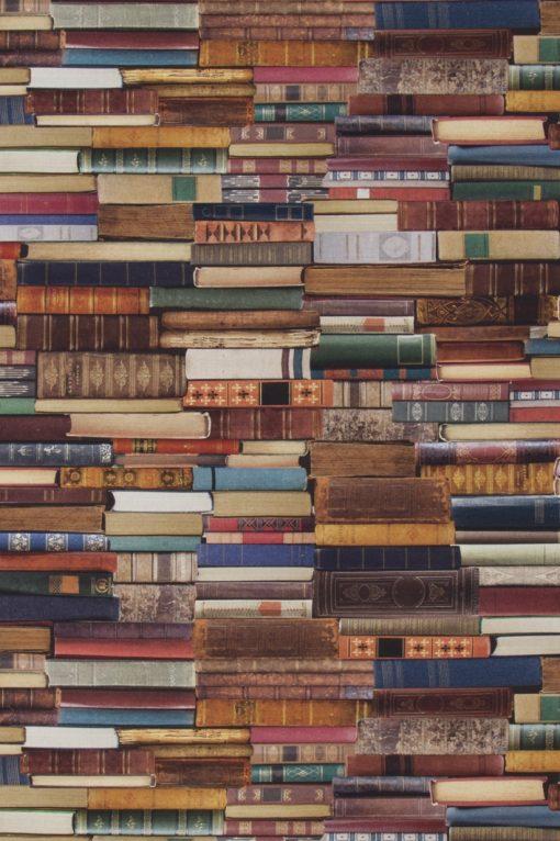 katoenen printstof met boeken gordijnstof decoratiestof 1.151030.1175.180, 91173-01