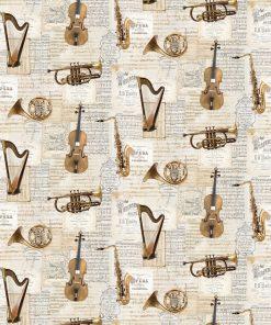 katoenen printstof met muziekinstrumenten gordijnstof decoratiestof 91265-01, 1.151030.1265.110