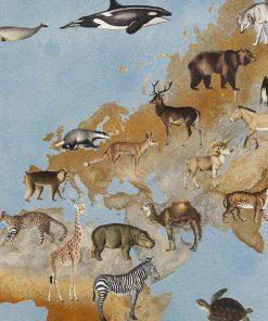 katoenen printstof met dieren gordijnstof decoratiestof 91299-32