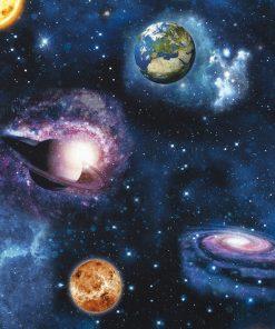 katoenen printstof met planeten gordijnstof decoratiestof 91299-34