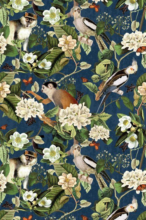 velvet printstof gordijnstof decoratiestof vogel aap 93704-01, 1-152540-1014-475