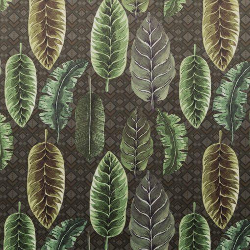 rich greenery bedrukte velvet met bladeren printstof decoratiestof meubelstof 93712-01, 1-152540-1022-525
