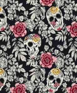 jacquardstof Bellisima Noir decoratiestof gordijnstof meubelstof stof met schedels