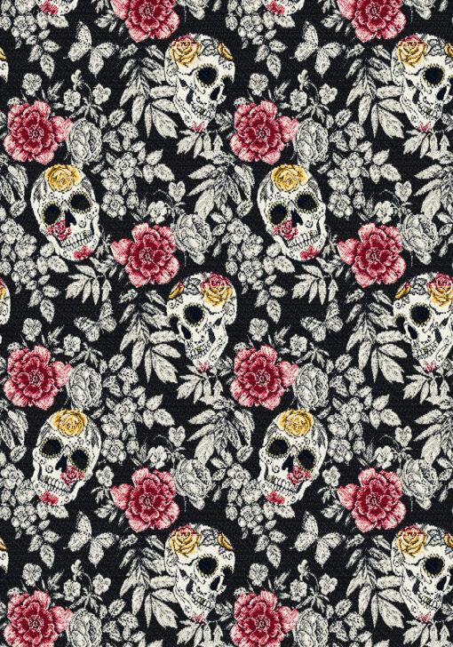 jacquardstof Bellisima Noir stof met schedels gordijnstof decoratiestof meubelstof