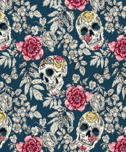 jacquardstof Bellisima Paon decoratiestof gordijnstof meubelstof stof met schedels