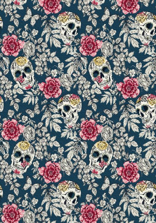 jacquardstof Bellisima Paon stof met schedels decoratiestof meubelstof gordijnstof