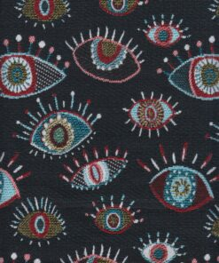 jacquardstof Eyes Allover Black stof met ogen gordijnstof decoratiestof meubelstof