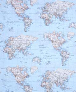 stof met wereldkaart gordijnstof decoratiestof printstof ottoman 03364-01, 1.105030.1334.509