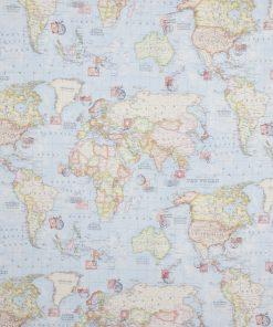 stof met wereldkaart gordijnstof decoratiestof printstof ottoman 1.105030.1460.655