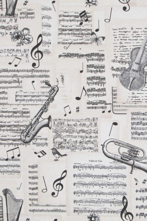 muziekstof gordijnstof decoratiestof printstof ottoman 03576-01, 1.105030.1600.110
