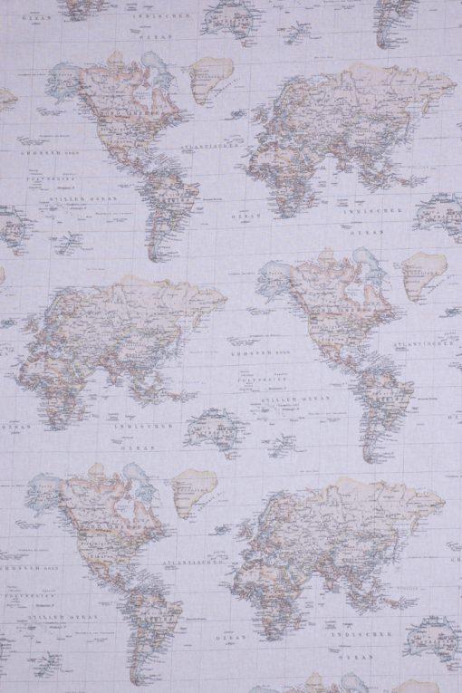 linnenlook wereldkaart printstof gordijnstof decoratiestof 07189-01, 1.104530.1290.110