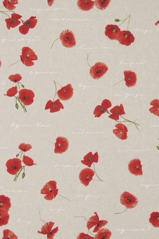 Linnenlook Poppy stof met klaprozen decoratiestof F07299-224, 1-104530-1638-310
