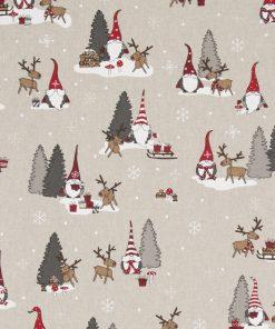 linnenlook kerststof printstof decoratiestof gordijnstof Kerststoffen kopen 07299-266, 104530-1680-325