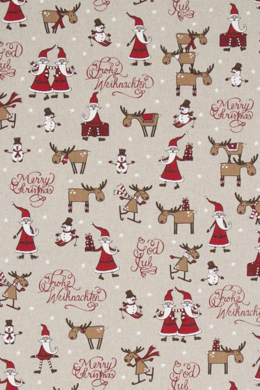 linnenlook kerststof printstof decoratiestof gordijnstof Kerststoffen kopen F07299-268, 1-104530-1682-325
