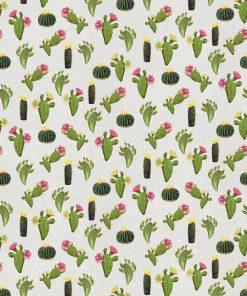 Linnenlook Mini Cactus stof met cactussen decoratiestof 07299-278, 1-104530-1692-535