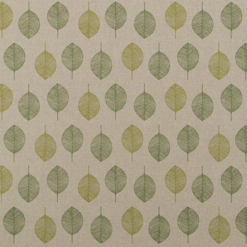 Linnenlook Scandi Green stof met blaadjes decoratiestof 07299-307, 1-104530-1721-540