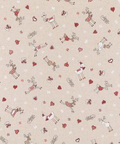 linnenlook kerststof 139 stof met rendieren decoratiestof gordijnstof F07299-67