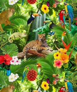 digitale printstof 128 katoenen stof met vogels meubelstof gordijnstof decoratiestof 91124-01, 1.151030.1123.525