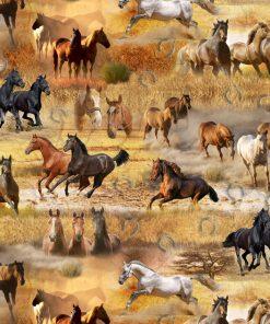 katoenen printstof gordijnstof decoratiestof stof met paarden 91137-01