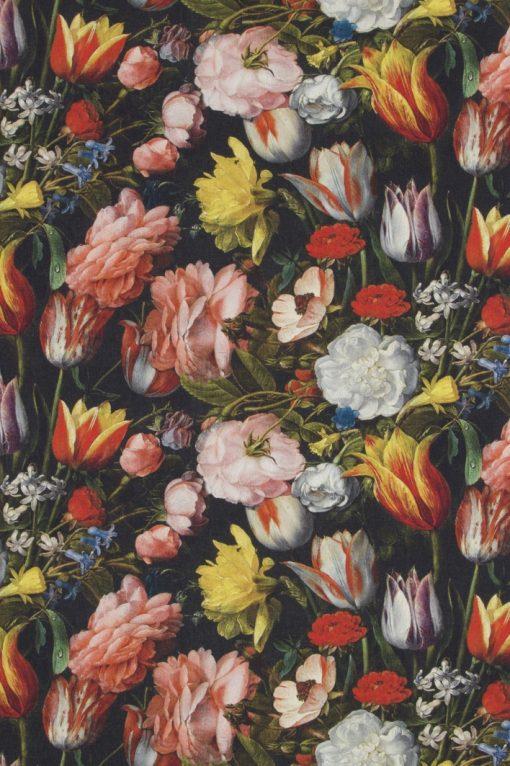 katoenen stof met tulpen van Hollandse Meesters decoratiestof gordijnstof meubelstof 91204-01, 1.151030.1202.655