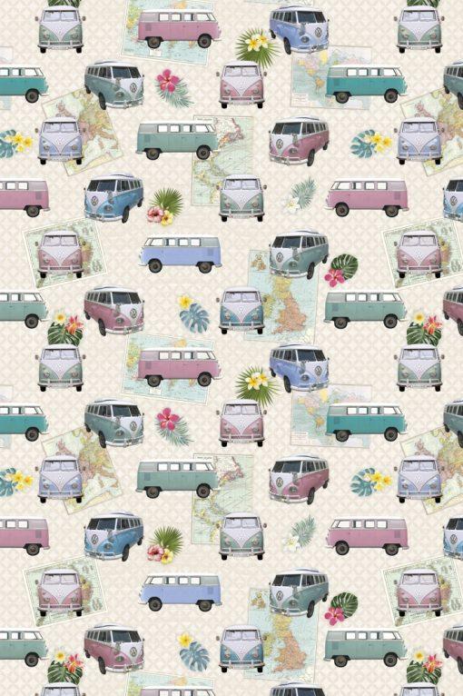 digitale printstof VW busjes gordijnstof decoratiestof 94552-01, 1.151130.1012.655