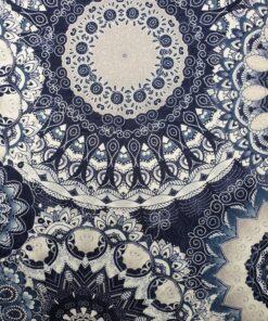 Damast Fleur de Vie Indigo stof met mandala decoratiestof gordijnstof meubelstof