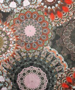 Damast Fleur de Vie Kaki stof met mandala decoratiestof gordijnstof meubelstof