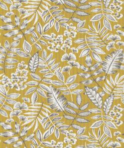 jacquardstof Giuseppe Jaune stof met bladeren decoratiestof gordijnstof meubelstof