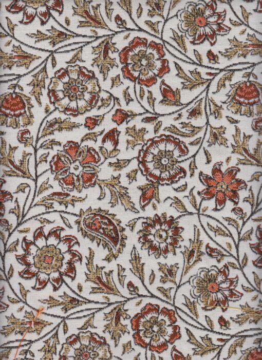 jacquardstof guirlande blanc orange stof met bloemen gordijnstof meubelstof decoratiestof