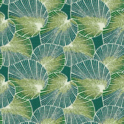 jacquardstof lotus emeraude gordijnstof decoratiestof meubelstof stof met lotusblad