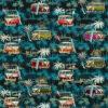 jacquardstof Marbella Bleu stof met VW busjes decoratiestof gordijnstof meubelstof