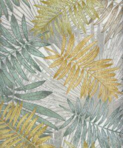 Damast Palma Kaki stof met palmbladen decoratiestof gordijnstof meubelstof