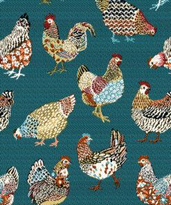 jacquardstof Paulina Bleu stof met kippen decoratiestof gordijnstof meubelstof