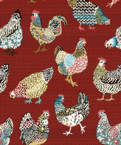 jacquardstof Paulina Rouge stof met kippen decoratiestof gordijnstof meubelstof