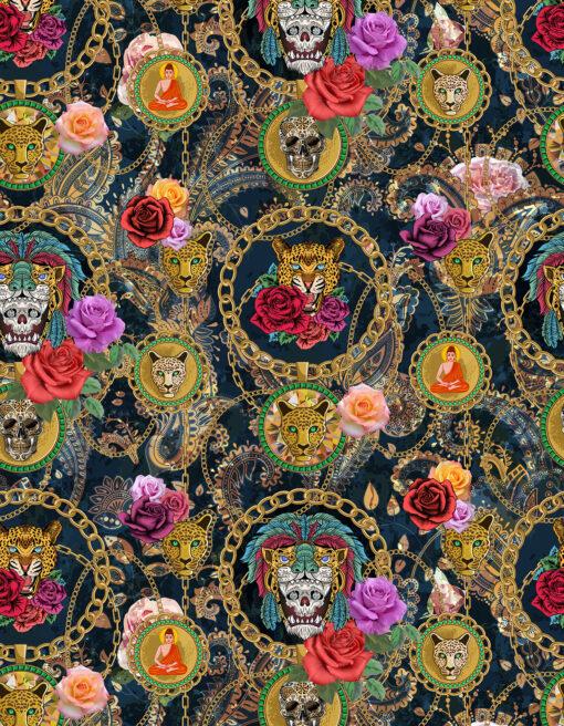 Damast Powerful Black stof met kattenkoppen decoratiestof gordijnstof meubelstof stof voor tafelkleden